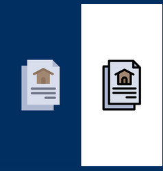 file document house icons flat and line filled vector image