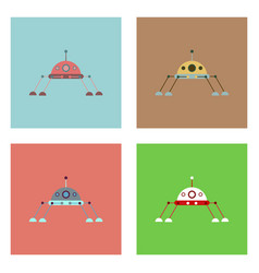 Flat icon design collection spaceship icon vector