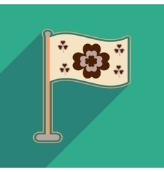 Flat web icon with long shadow flag clover vector