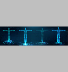 Futuristic hologram scan 3d x-ray body vector