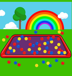 Garden kids with colorful ball and rainbow sky vector