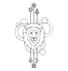 Geometric lion symbol vector