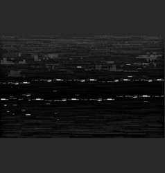 glitch vhs black and white analog distortion vector image