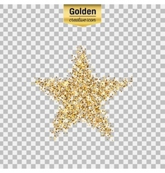 Gold glitter icon of star isolated on vector