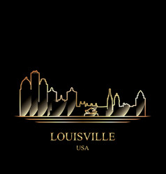 Gold silhouette of louisville on black background vector