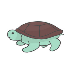 hand drawn turtle color doodle sketch style icon vector image
