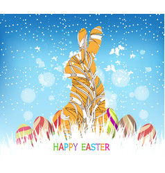Happy easter eggs and bunny winter background vector