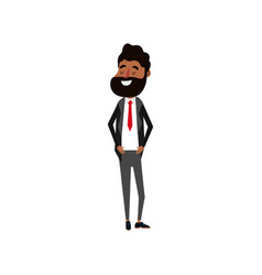 happy groom with hairstyle and elegant suit vector image
