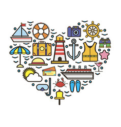 Heart made with vacation attributes vector