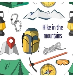Hike in the mountains pattern vector image