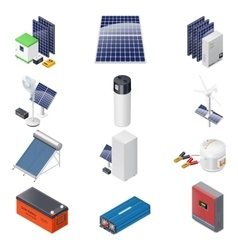 Home solar energy equipment isometric icon set vector image
