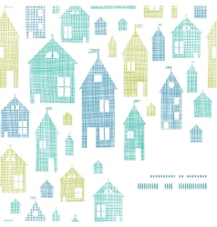 Houses blue green textile texture corner frame vector