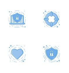 Icons with shield laptop help circle and heart vector