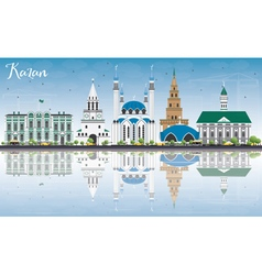 Kazan Skyline with Gray Buildings Blue Sky vector