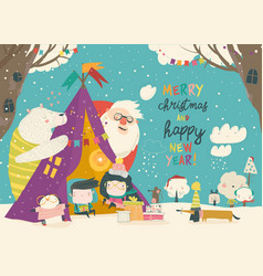 kids celebrating christmas with animals and santa vector image