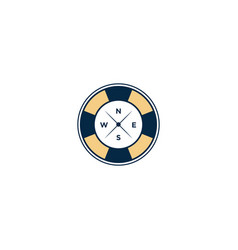 Marine retro emblems logo with ship float tire vector