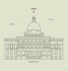 massachusetts state house in boston usa landmark vector image