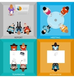 Meetings Of Business People Top View Set vector