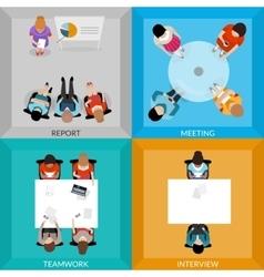 Meetings Of Business People Top View Set vector image