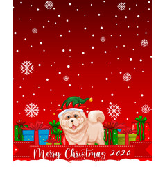 Merry christmas 2020 font logo with cute dog vector