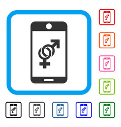 mobile dating framed icon vector image