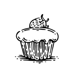 Muffin with strawberry vector