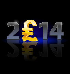 new year 2014 metal numerals with english pound vector image