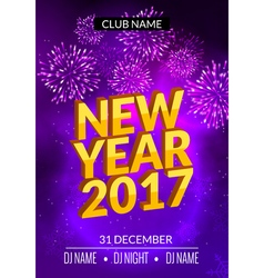 New Year party poster design with fireworks light vector