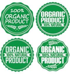 Organic product 100 natural green signs set vector
