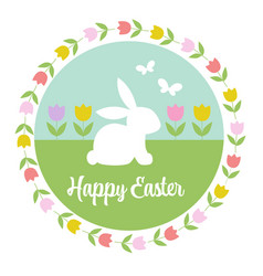 pastel happy easter graphic with bunny tulips vector image