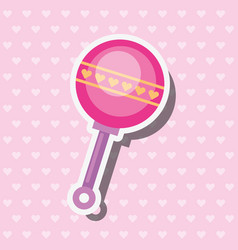 Pink toy rattle hearts decoration vector