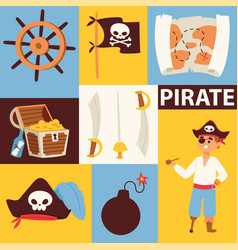 piratic pirating chest and flag skull backdrop vector image