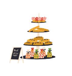 Rack shelves with fresh appetizing bakery vector