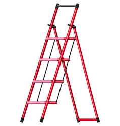 Red aluminum step folding ladder vector
