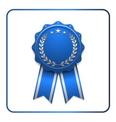 Ribbon award icon blue 2 vector image
