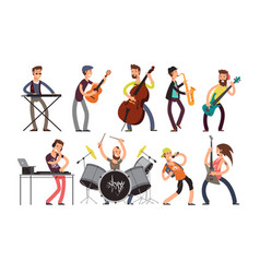 Rock n roll music band characters with vector