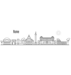rome and vatican city skyline - cityscape vector image