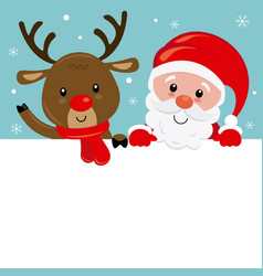 santa claus and reindeer poster vector image