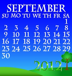 September 2012 landscape calendar vector
