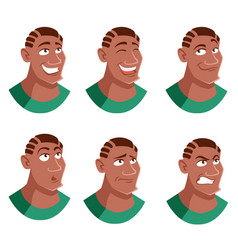 Set of man face icons vector