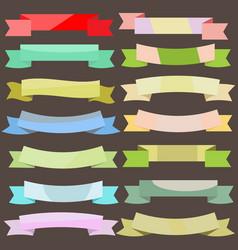 set vintage colored banner ribbons vector image