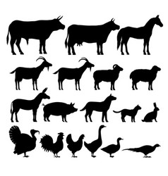 silhouettes farm animals vector image