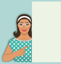 smiling retro woman points at blank poster vector image