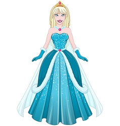 Snow Princess In Blue Dress Front vector