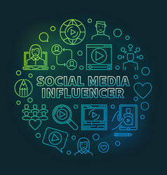 Social media influencer round colored vector