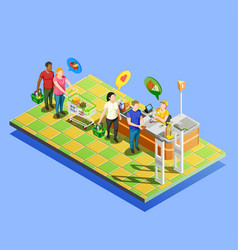 Supermarket checkout isometric composition vector
