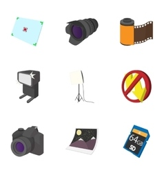 Taking photo icons set cartoon style vector