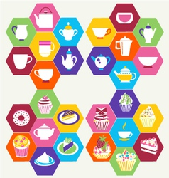 Tea Time Tea cups pots vector image