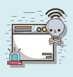 Technology window and skull bones with wifi vector