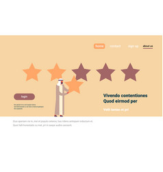 Three star rating arab man giving feedback concept vector